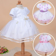 2016 New born Baby Girl Christening gowns lace party dress for Infant Girls Baptism Dress for Baby Girl White Pink and Purple(China (Mainland))