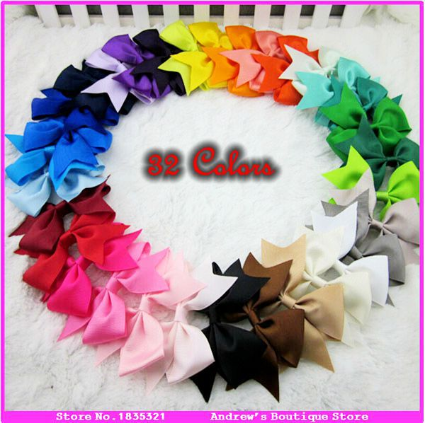 3.5 Inch Grosgrain Ribbon Bow Hair Clips Children Hair Accessories Headwear Baby And Girls Hairpins With Clip 20pcs/lot(China (Mainland))
