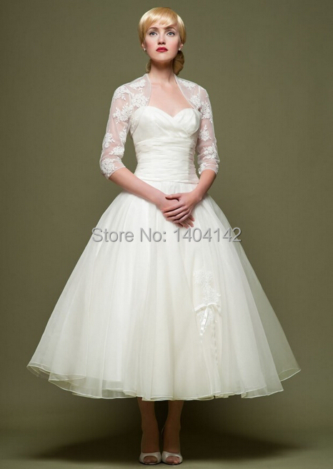 Ankle length simple white or ivory organza short wedding for Ankle length wedding dress with sleeves