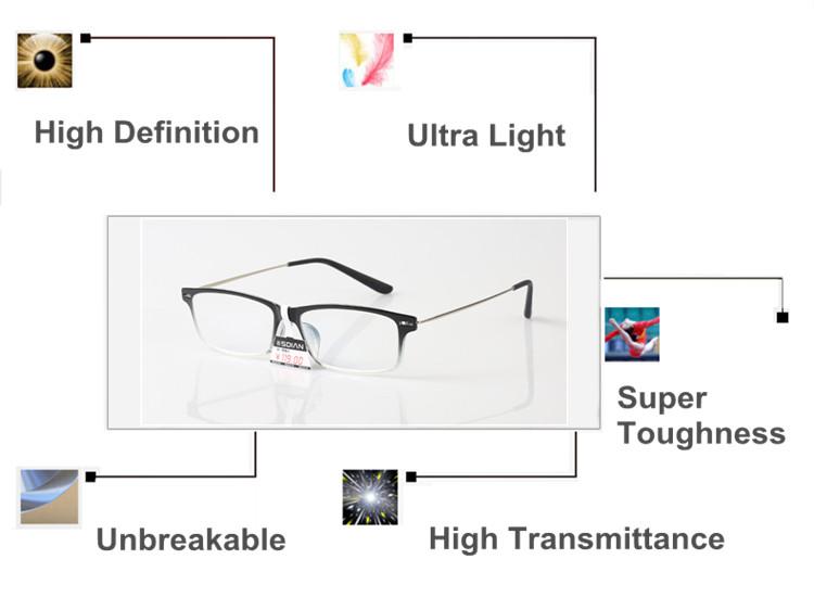 Brand Designer Men's High-end Black Reading Glasses & Bag Anti-fatigue Anti-radiation Aspheric Hard Resin Presbyopic Lens.G606