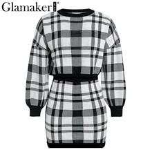 Glamaker, вязаный клетчатый костюм из двух частей, сексуальное платье для женщин, Осеннее элегантное Мини Короткое платье, зимнее укороченное п...(China)