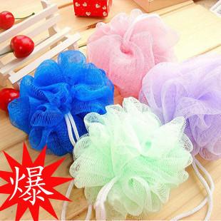 Multicolour bath site Cool ball bath towel scrubber Body cleaning Mesh Shower wash product,bath sponge/bath flower(China (Mainland))