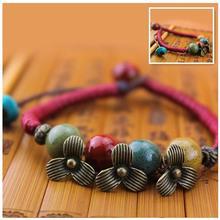 Chinese National Style New Fashion Ceramic Beads Jewelry Flower Charm Bracelet For Women  S0086(China (Mainland))