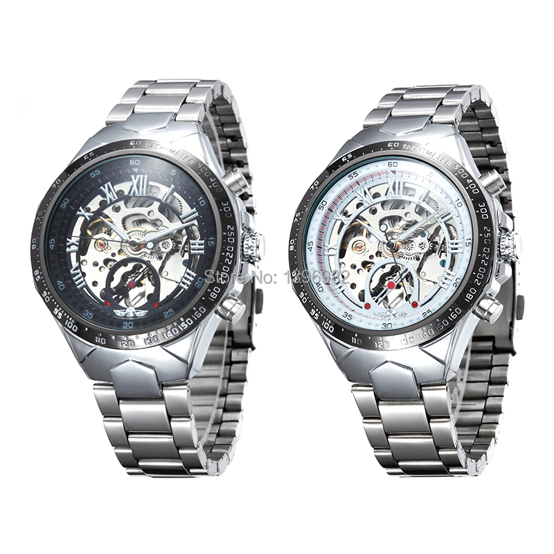 Relogios Masculinos Fully Automatic Mechanical Men Business Watches Stainless Steel Openwork Roman Numerals Watch For Men(China (Mainland))