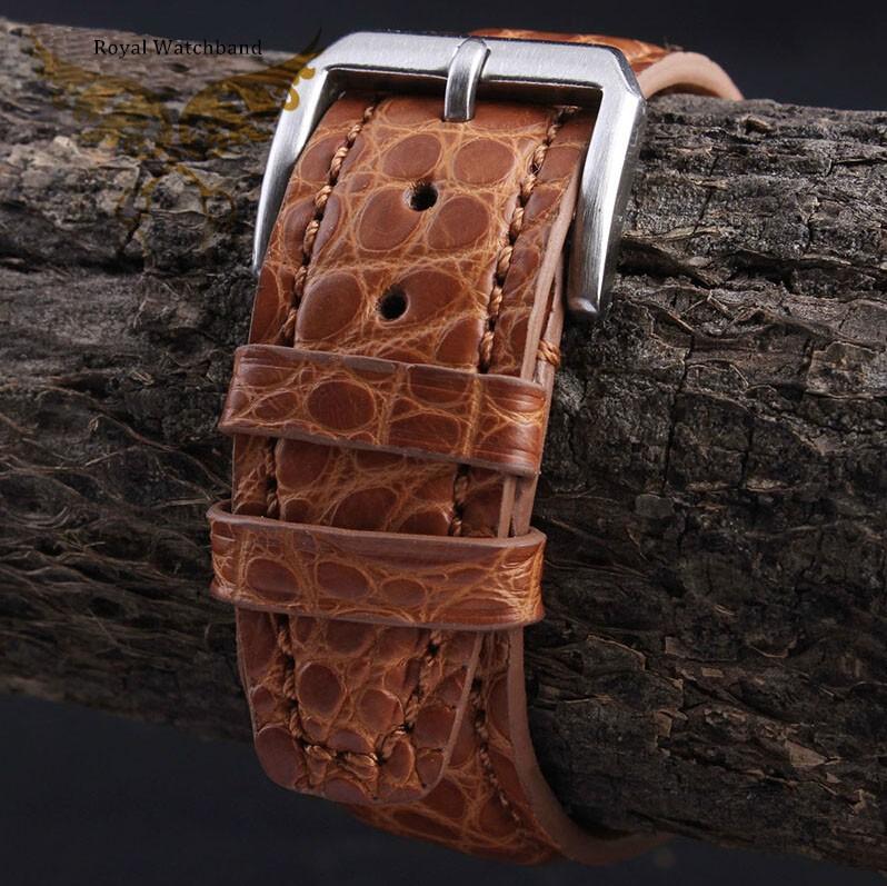 2014 Новый стиль 21 мм 22 мм ручной оранжевый натуральной кожи аллигатора ремешок группы матовый серебристый застежка из нержавеющей стали пряжки