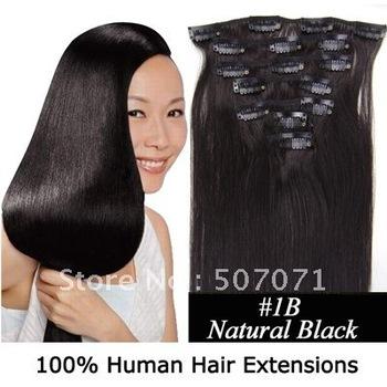 "16"" 18"" 20"" 22"" 24"" 26"" 8pcs remy indian hair clip in hair extensions clip on hair #1B natural black kinda brown 100g/set 3sets"