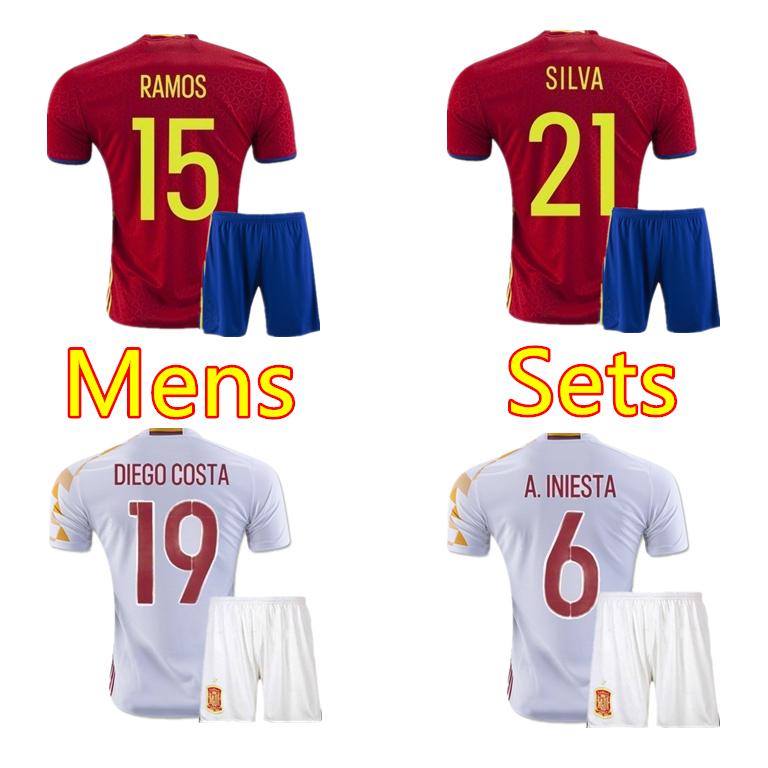 2016 Spain jersey home red A.INIESTA Soccer Jerseys 16 17 FABREGAS camisetas de futbol RAOMS Football shirts away white shirt(China (Mainland))