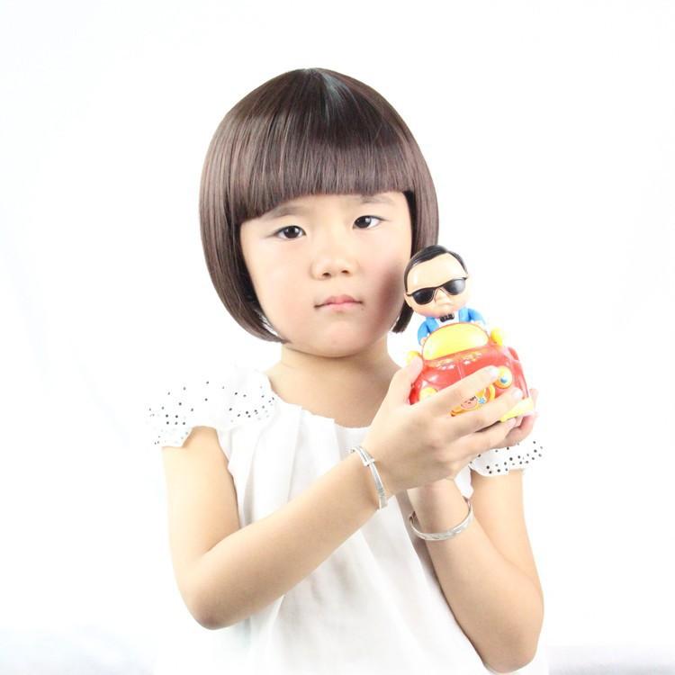 Child Wig Synthetic Cute Lovely Children Bob Hair Kid's Wig Korean Fiber Short Wavy Hair Wig for Little Girls Black Child Wig(China (Mainland))