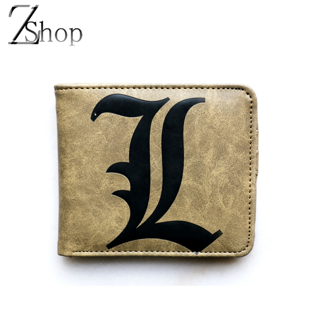 Anime Wallets Anime Death Note Short Purse L Logo Brown PU Wallet(China (Mainland))