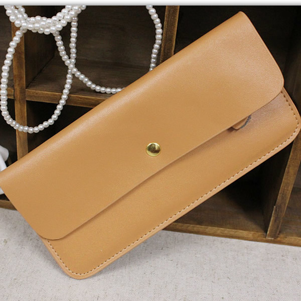 Brief elegant candy color cowhide women's small change long design wallet(China (Mainland))