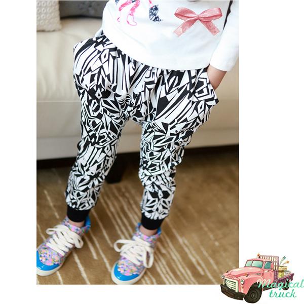 Стильный малышей девушки дети свободного покроя свернуть брюки хлопок шаровары брюки на 1 год - 6 лет