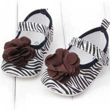 Cute Toddler Girl Flower Crib Shoes Baby Zebra Soft Sole Prewalker Shoes 0-12M(China (Mainland))