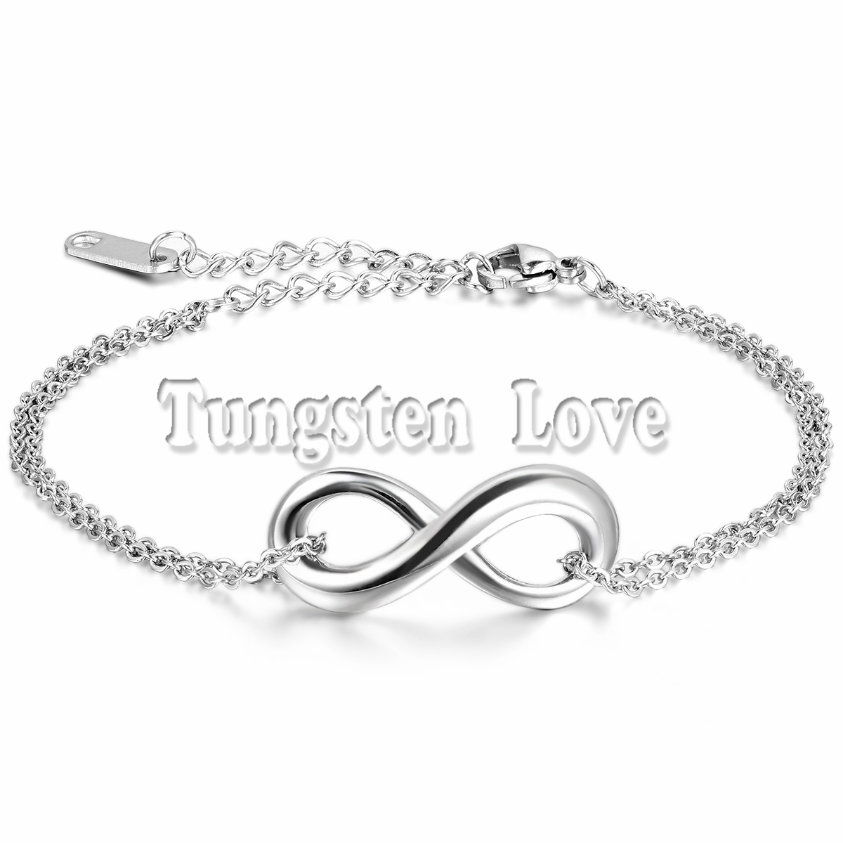 Fashion Silver Stainless Steel Infinity Bracelet Women Charm Bracelets 7.3 Inch Length with Extend the chain(China (Mainland))