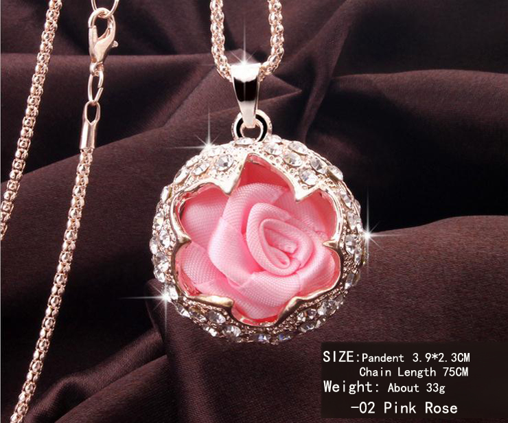 2014 NEW Fashion Trend Ornament Round Rose Chain Necklace Crystal Snake Chain Jewerly Theme Jewerly N006(China (Mainland))