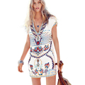 Sexy Deep V Neck Print Retro Vintage Dress Women 2016 Fashion Ladies Short Sleeve Mini Summer