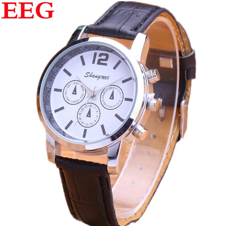 Watches Men Luxury Brand Fashion Casual Genuine Leather Quartz Watch Decorated Three Eyes Military Dress Watches Gift Wristwatch(China (Mainland))