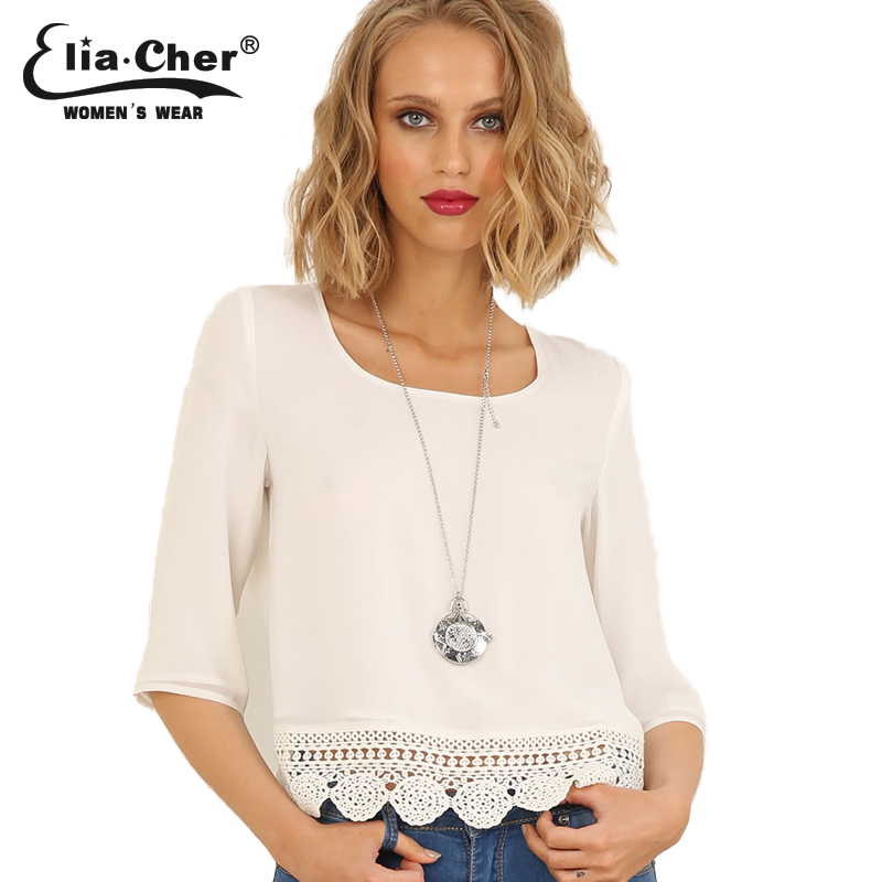lace blouse women tops elia cher brand fashion white women