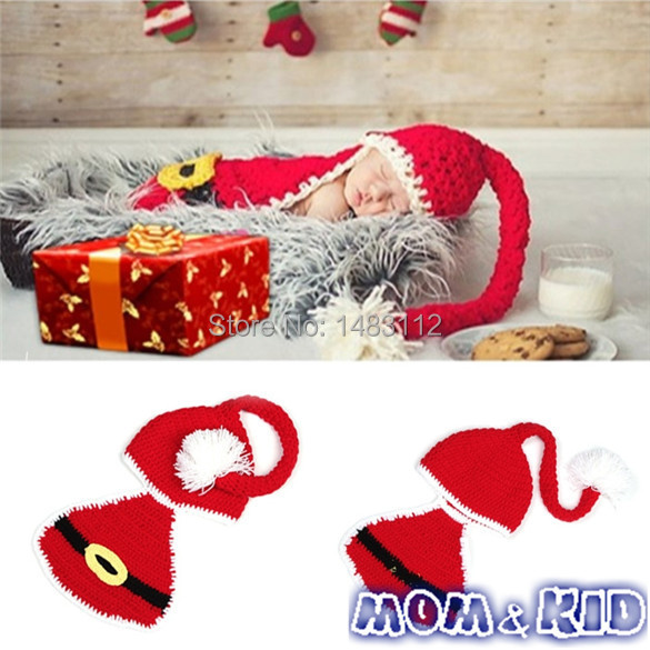 Newborn Infant Baby Santa Christmas Crochet Wool Hat Photo Prop Outfits Christmas Gift for kid H18898QQ(China (Mainland))