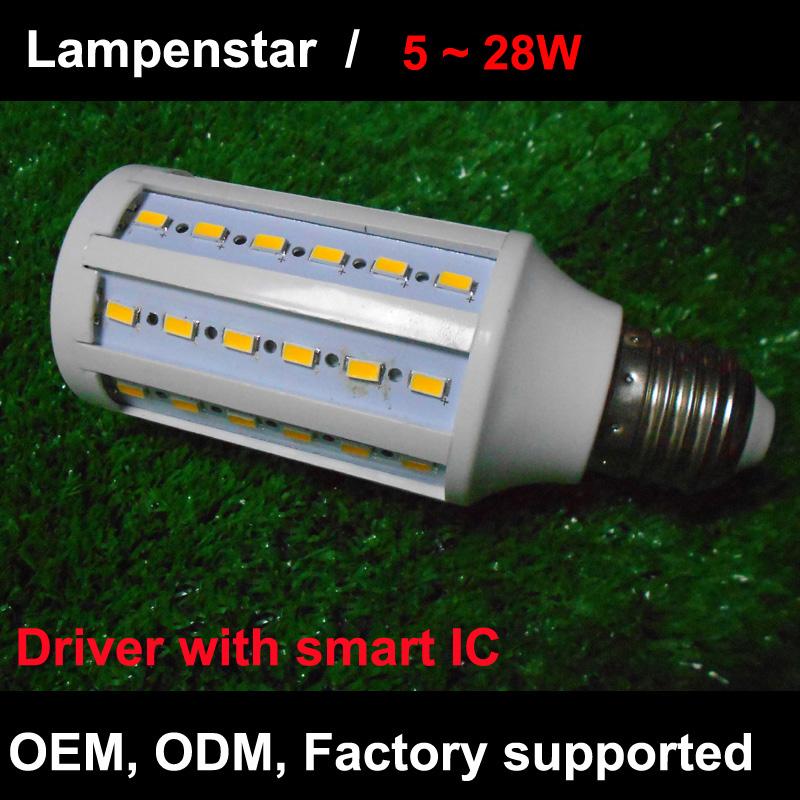 E27 LED Lamp 5730SMD led corn Light Bulb with smart ic 5W 7W 9W 10W 14W 15W 18W 20W 22W 25W 30W 28W 40W 50W real power 220V 110V(China (Mainland))