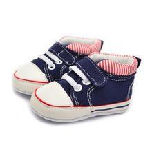 Baby Boy Soft Sole Crib Shoes Anti-Slip Prewalker Baby Canvas Striped Sneaker 0-18M 781