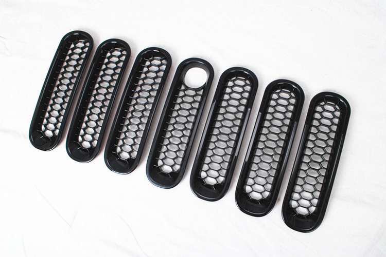 Фотография New Black Grille for Jeep Wrangler JK 08+ ABS Chrome Trims Mesh Grilles with Key Hole Insert Protection Filter Free Shipping