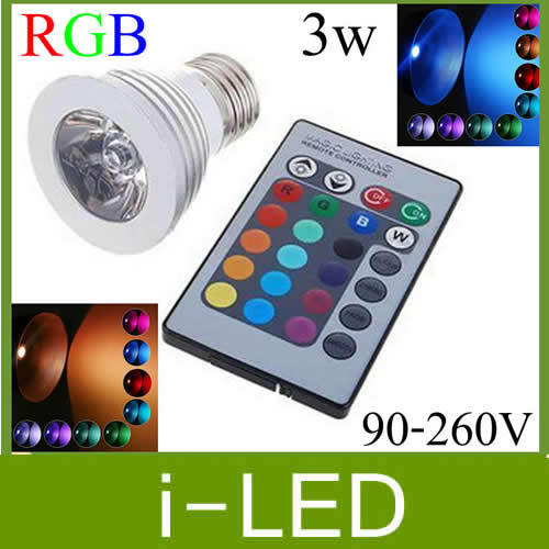High Quality 3W Rgb Led Spotlights E27 E26 Mr16 Gu10 Led Bulb Lamps Holiday Decoration +Memory function + 24keys IR Controller(China (Mainland))