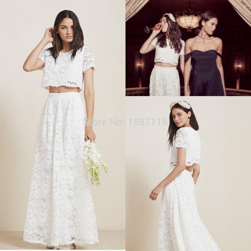 Sexy vintage 2016 two piece lace wedding dresses beach for 2 piece wedding dresses