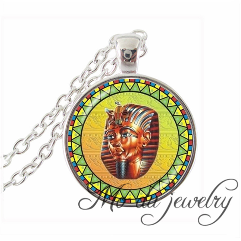 Ancient Egyptian Statement Necklace Ancient Egypt Charms Silver Pendant Glass Cabochon Head Art Photo Necklace Religious Jewelry(China (Mainland))