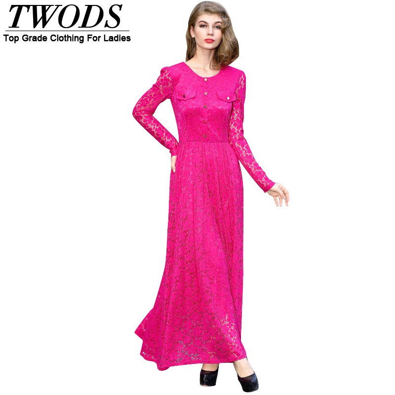 Twods Casual 2015 Autumn Lace Long Sleeve Maxi Dress High Quality O-neck Slim Fit Flare Dresses Vestidos Plus Size