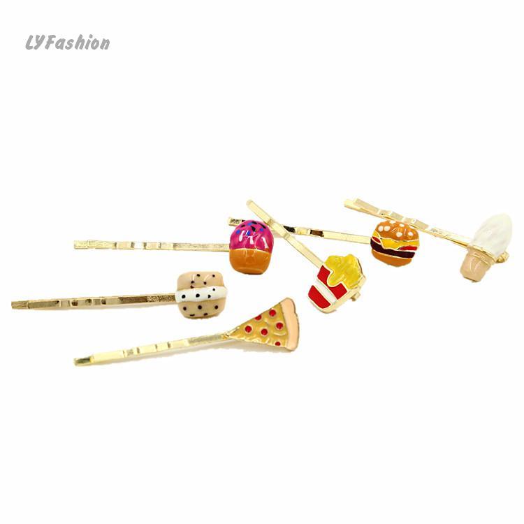 Korean Hair Jewelry Cute Food Shape Hairclip Fries Pizza Cake Hairpin Japan Hot Selling Side Hair Pin Free Shipping Sisters Gift(China (Mainland))