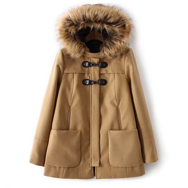 2015 Za New Fashion Ladies Elegant Faux Fur Hooded Woolen Long Coat Warm Winter Jacket Zipper Pocket Outwear Casual Brand Coats