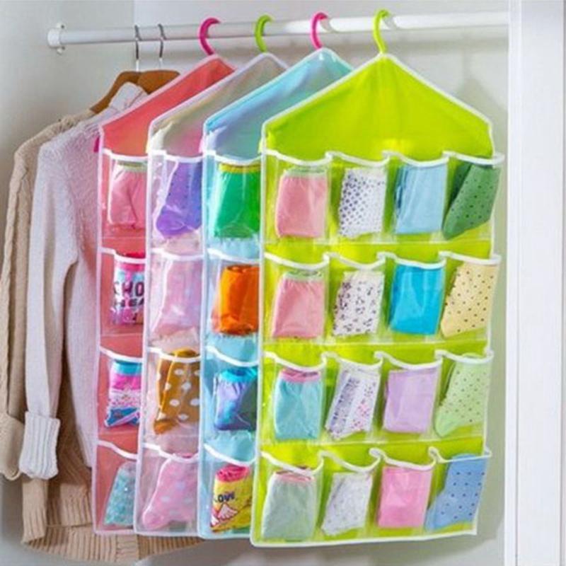 16 Pockets Foldable Wardrobe Clothing Hanging Storage Bag Clothes Socks Ties Organizer Hanger Closet Space Rack Bags 80x42cm(China (Mainland))
