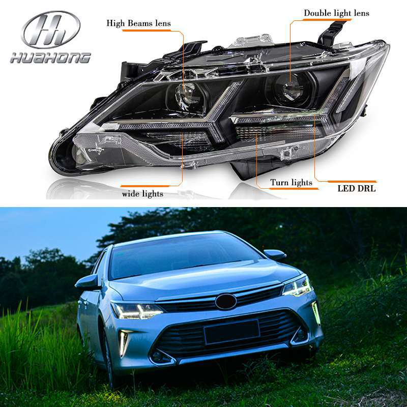 For Toyota Camry headlights with LED DRL and 4300K xenon bulb double-lights lens External lights products accessories 2015 new(China (Mainland))