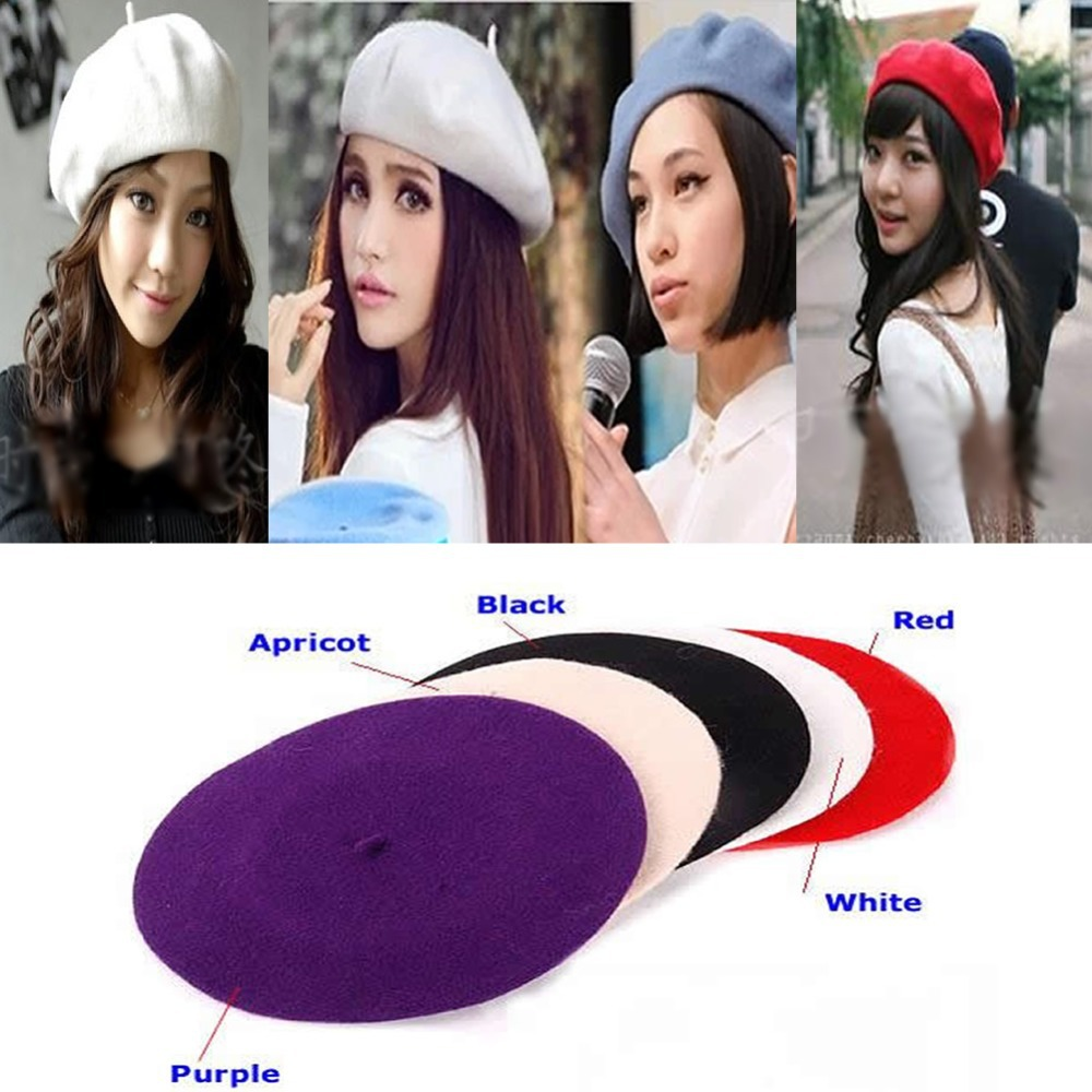 Free Shipping Hot Fashion Wool Warm Women Felt French Beret Beanie Newsboy Berets Tam Hat Cap(China (Mainland))