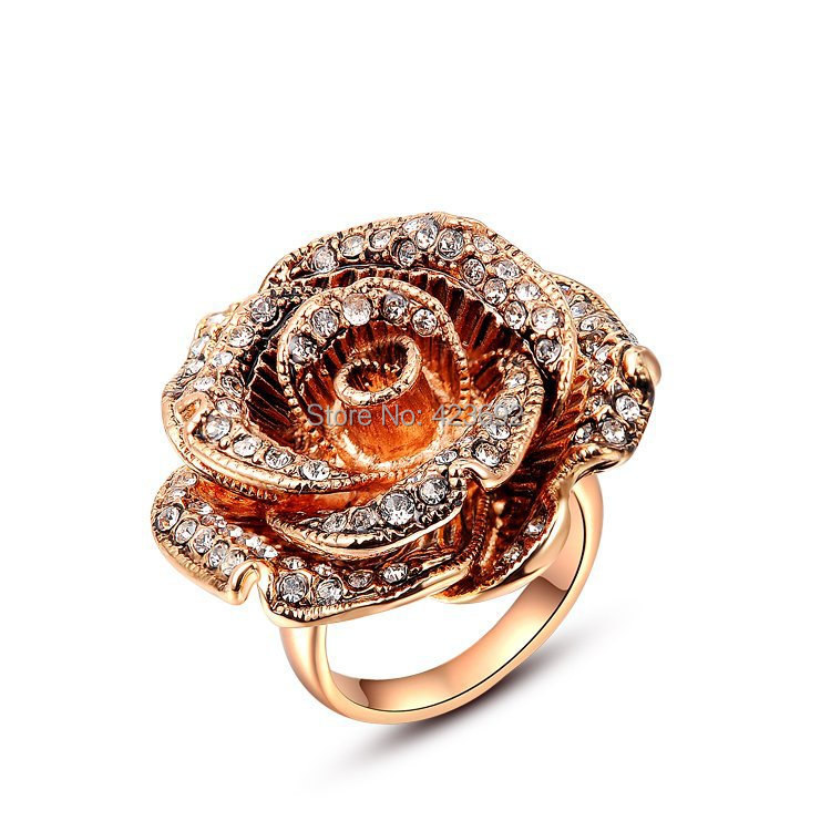 Christmas Gift Beauty Cubic Zircon Factory Price White Stone Fashion Gifts Big Rose Rings Rose Gold Plating Fashion Jewelry