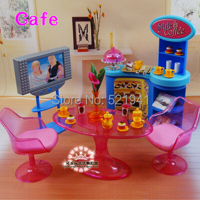 Free Shipping Girl birthday gift plastic Play Set  Cafe Gift Set doll furniture accessories for barbie doll<br><br>Aliexpress