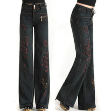 High waist spring and autumn new arrival women's pouncing vintage embroidery jeans denim pants wide leg pants trousers