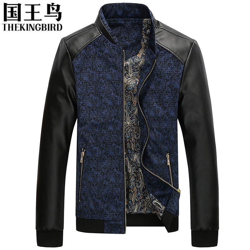 Men's Jackets 2016 The New Autumn And Winter Men's jackets Casual Slim PU Leather Stitching Jacket Baseball Collar Fashion Coat(China (Mainland))