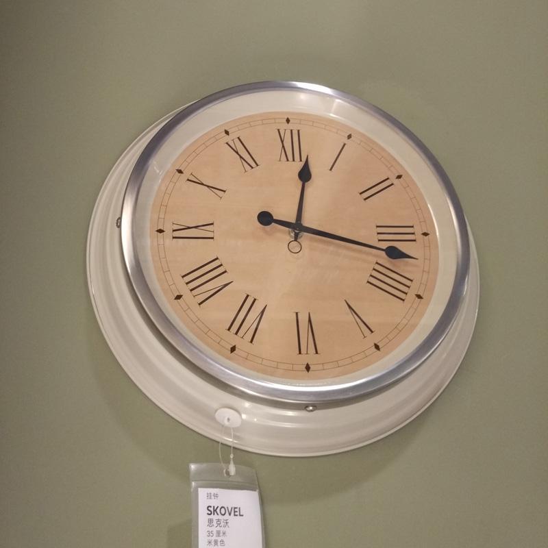 Simple Quartz Wall Clocks IKEA SKOVEL Round Clock for Living Room Study Room Home Decorations relogio de parede Beige/ Green(China (Mainland))