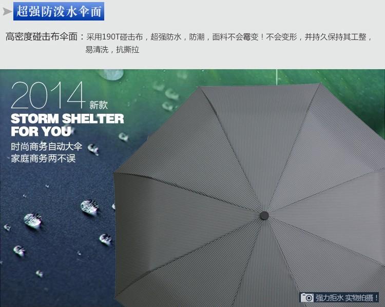 1c6a375c79174 Korean-style striped fully automatic three folding adult brand black  coating UV parasol Sunny   Rain umbrella rain women - us166