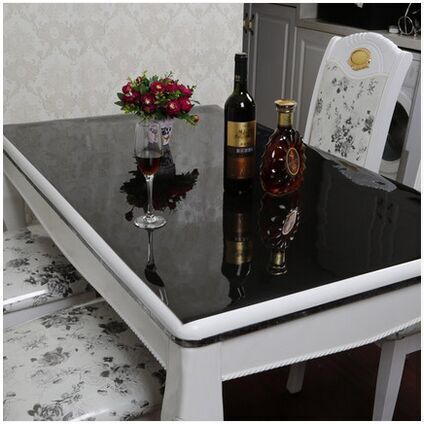 Black PVC tablecloth Crystal plate glass table cloth thickness 2mm(China (Mainland))
