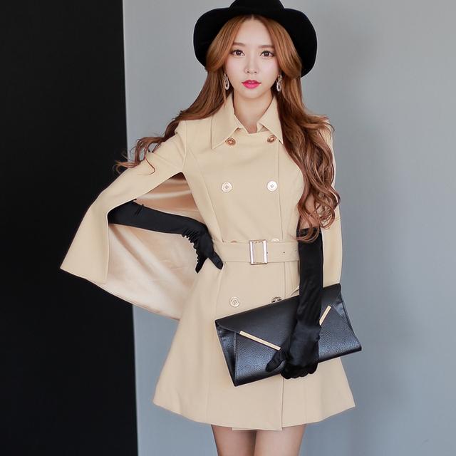 Original 2016 Brand Spring Autumn Light Beige Poncho Plus Size Slim ...