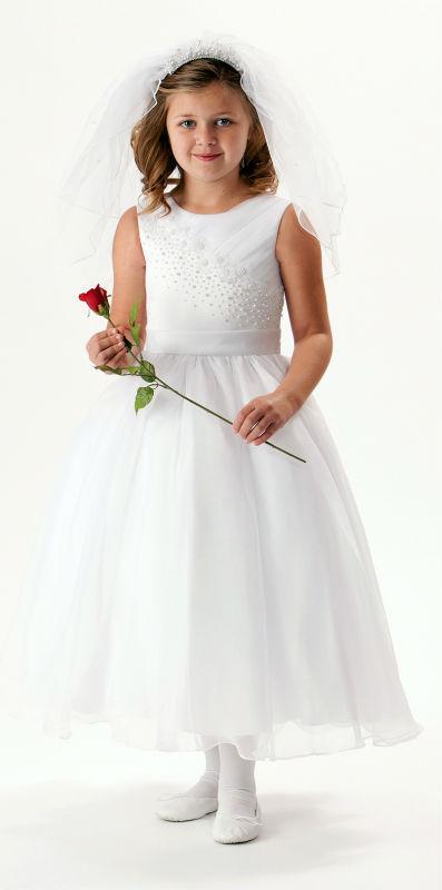 2015 Furst Communion Dresses for Girls Beadings White Princess Flower Girl Dresses for Weddings Vestido de Festa de Casamento(China (Mainland))