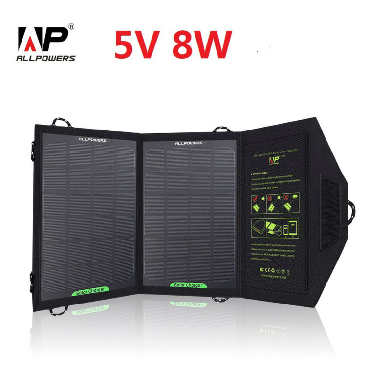 ALLPOWERS 5V 8W Foldable Solar Charger Outdoor Portable Solar Panel Charger for Cell Phone Mobile Phone(China (Mainland))
