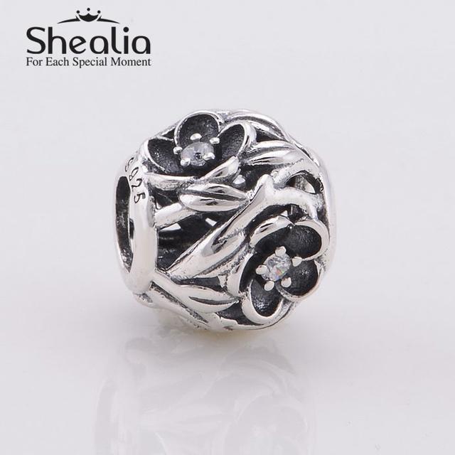 Винтажный черный эмаль ажурные цветочный подвески-талисманы с циркон 925 чистое серебро ювелирные изделия подходит браслеты
