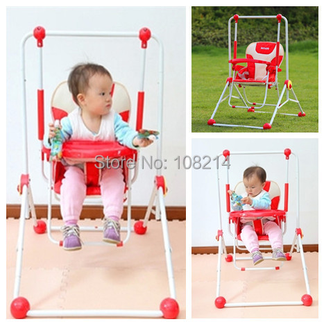 3 Colors Indoor Baby Dining Chair High Grade Metal Outdoor Baby Bouncer Swing Hot Sale Foldable Infant Hanging Chair Wholesale(China (Mainland))