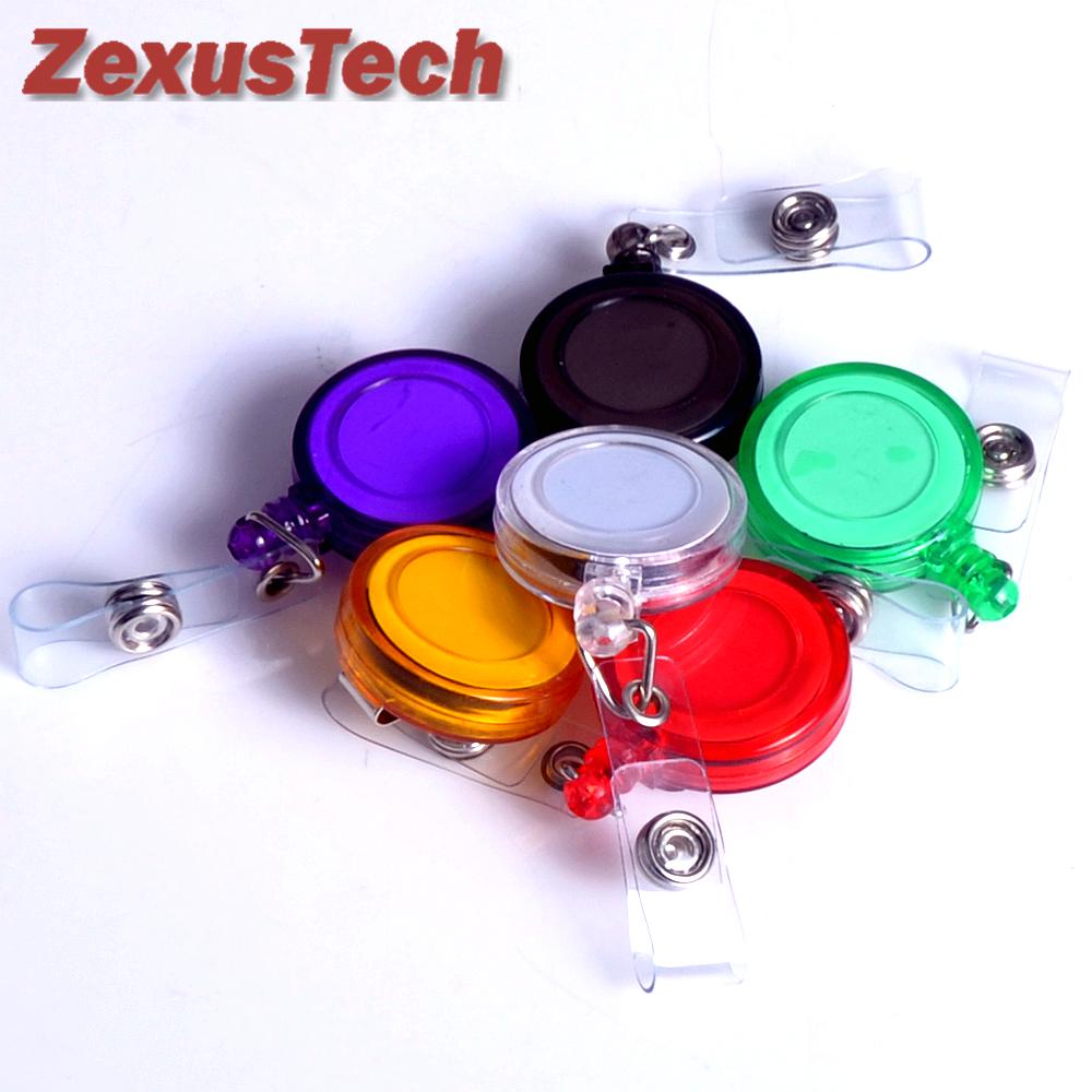 Гаджет  6Pcs Retractable Badge Holder Plastic Lanyards Translucent Neck Chain ID Card Holder Recoil Reels With Belt Clip Assorted Colors None Офисные и Школьные принадлежности