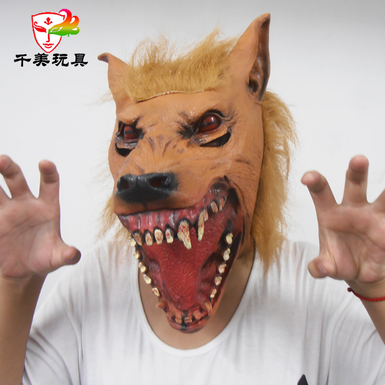 The wolf wolf mask headgear Cosplay masquerade animal caps green latex bar performance products(China (Mainland))