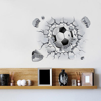 3d football wall sticker decal decor sport soccer boy kids. Black Bedroom Furniture Sets. Home Design Ideas
