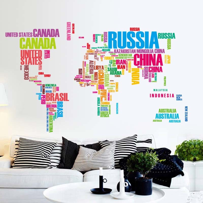 Colorful Letters World Map Wall Stickers Living Room Home Decorations Creative PVC Decal Mural Art Office Wall Art ZY035(China (Mainland))
